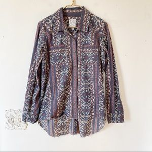 Billabong Aztec Tribal Shirt Raw Edge Hem L